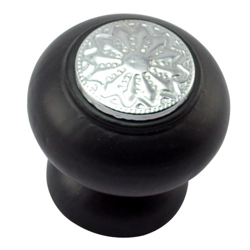 35mm Mushroom Wooden Cabinet Knob with Polished Chrome Coin