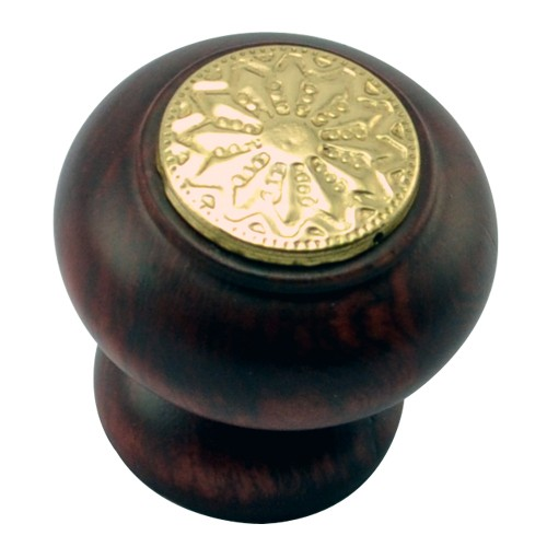 35mm Mushroom Wooden Cabinet Knob with Polish Lacquered Coin