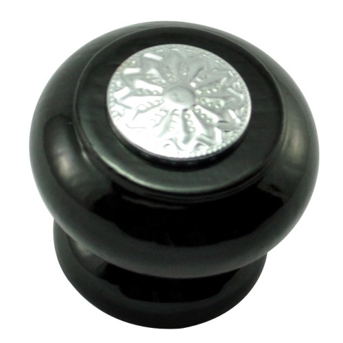 41mm Mushroom Wooden Cabinet Knob with Polished Chrome Coin