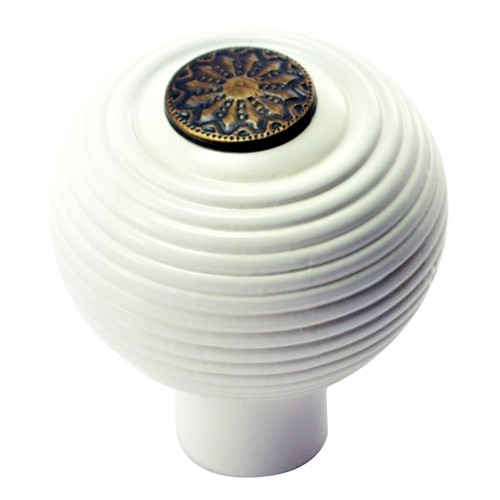 55mm Round Wooden Cabinet Knob with Antique Brass Coin