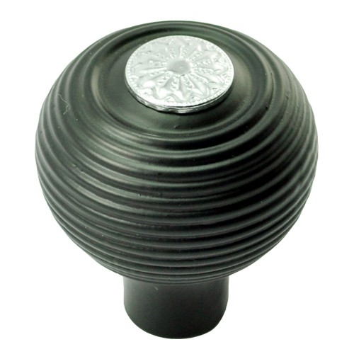 55mm Round Wooden Cabinet Knob with Polished Chrome Coin